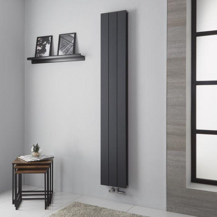 Milano Kit - Anthracite Vertical Aluminium Designer Radiator 1800mm x 280mm (Double Panel)
