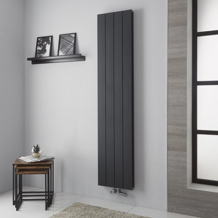 Milano Kit - Aluminium Double Radiator Anthracite - 1800mm x 375mm