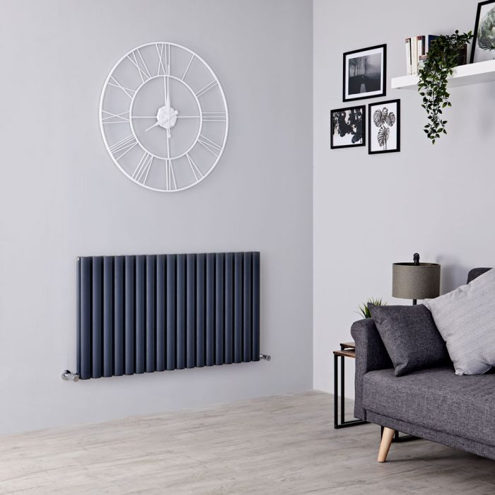 Milano Aruba Ayre - Aluminium Anthracite Horizontal Designer Radiator 600mm x 1070mm (Double Panel)