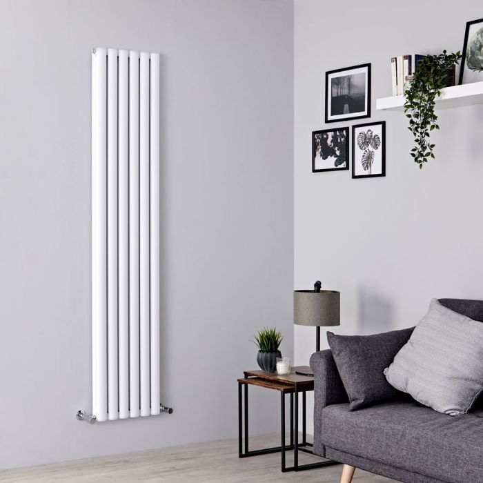Milano Aruba Ayre - Aluminium White Vertical Designer Radiator 1800mm x 350mm (Double Panel)