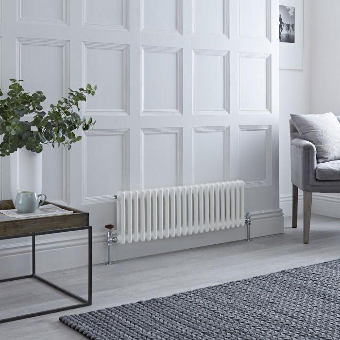 Milano Windsor - Horizontal Double Column White Traditional Cast Iron Style Radiator - 300mm x 1010mm
