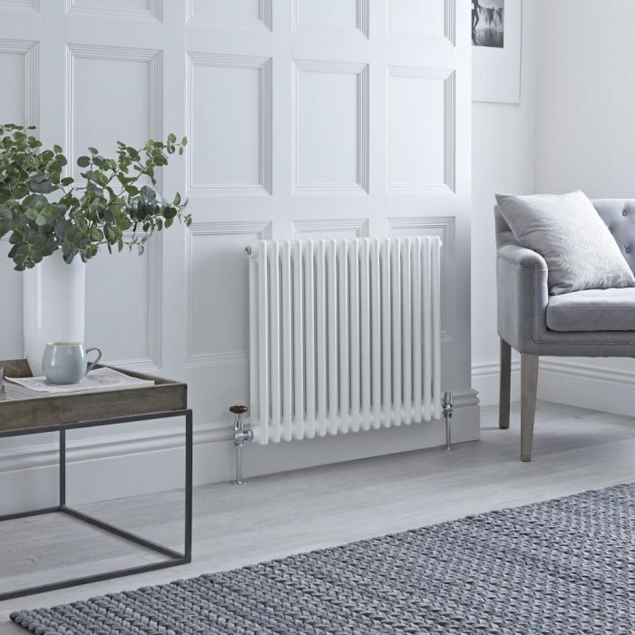 Milano Windsor - Horizontal Double Column White Traditional Cast Iron Style Radiator - 600mm x 785mm