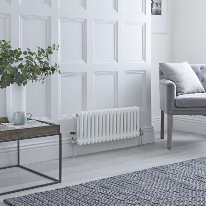 Milano Windsor - Horizontal Triple Column White Traditional Cast Iron Style Radiator - 300mm x 605mm