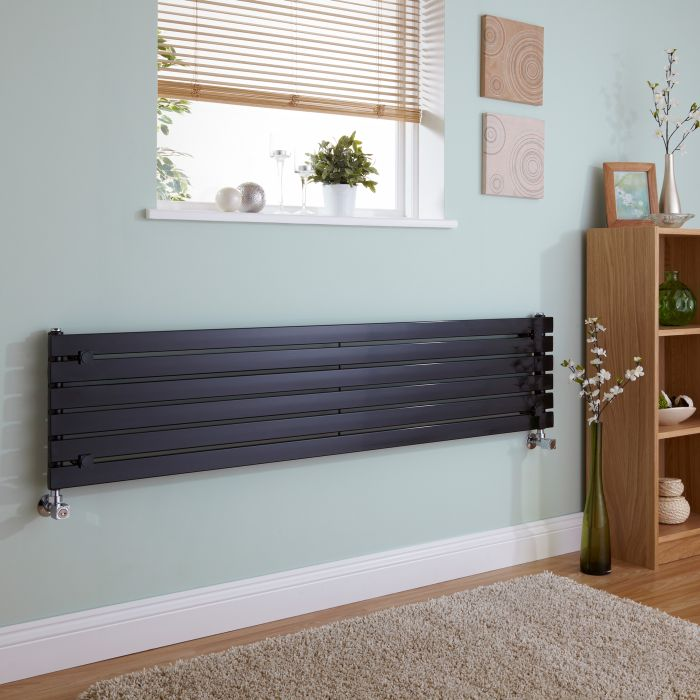 Milano Capri - Black Horizontal Flat Panel Designer Radiator 354mm x 1600mm