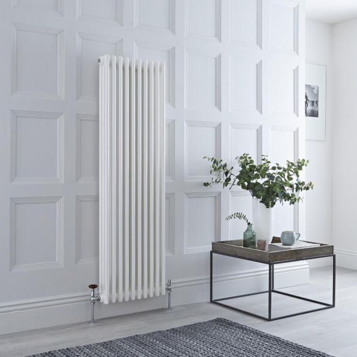 Milano Windsor - Vertical Triple Column White Traditional Cast Iron Style Radiator - 1500mm x 470mm