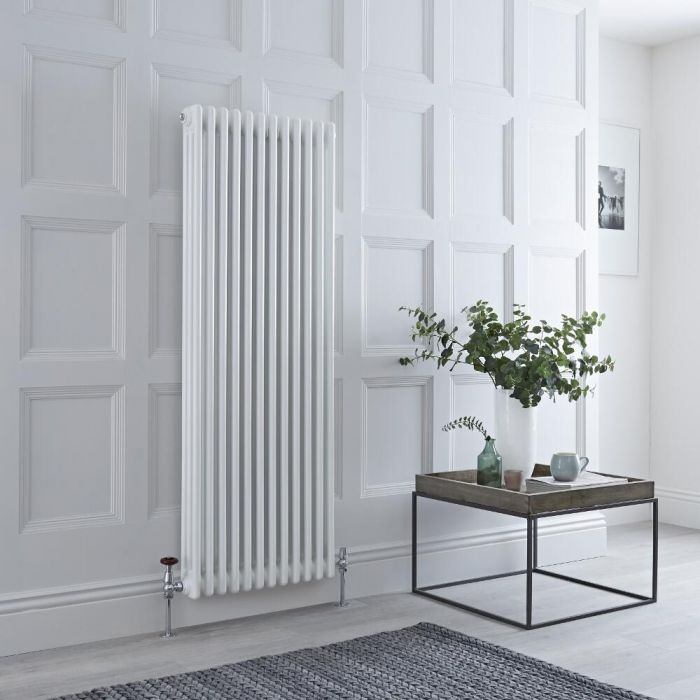 Milano Windsor - Vertical Triple Column White Traditional Cast Iron Style Radiator - 1500mm x 560mm