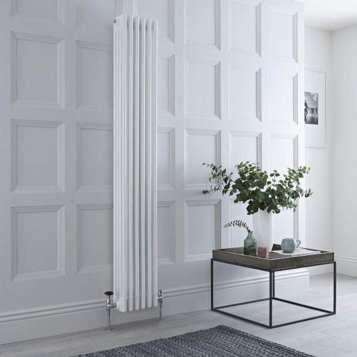 Milano Windsor - Vertical Four Column White Traditional Cast Iron Style Radiator - 1800mm x 290mm