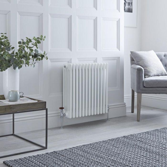 Milano Windsor - Horizontal Four Column White Traditional Cast Iron Style Radiator - 600mm x 605mm