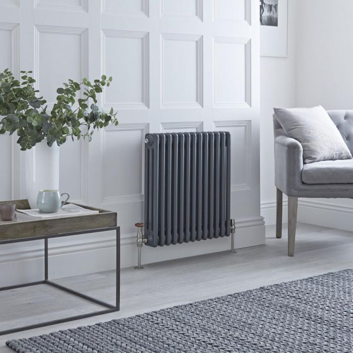 Milano Windsor - Horizontal Triple Column Anthracite Traditional Cast Iron Style Radiator - 600mm x 605mm