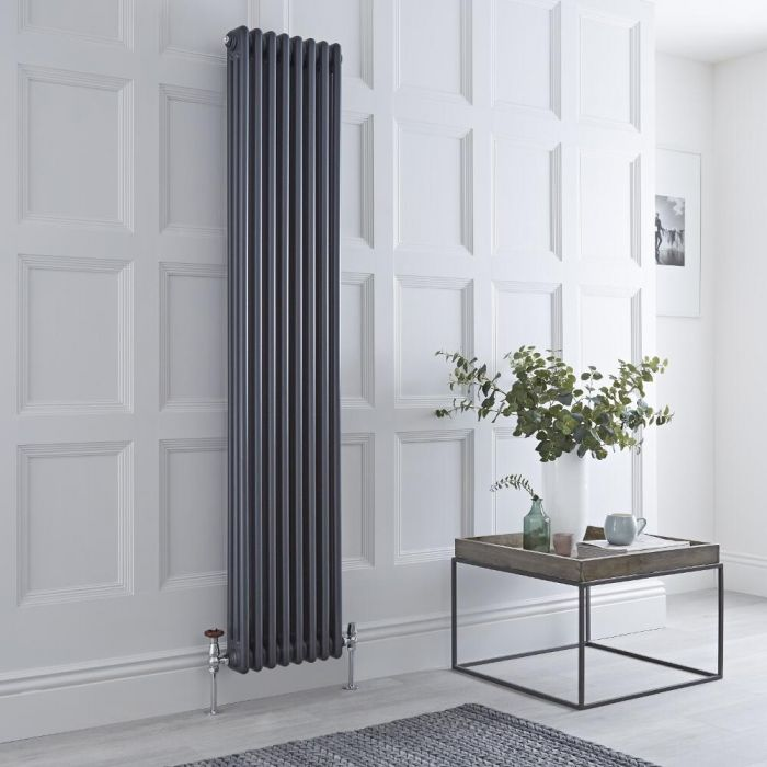 Milano Windsor - Vertical Triple Column Anthracite Traditional Cast Iron Style Radiator - 1800mm x 380mm