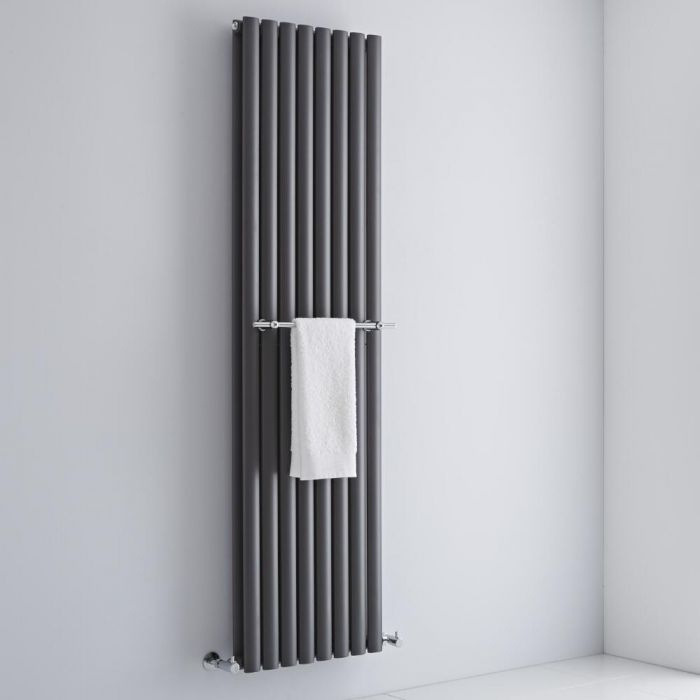 Milano - Chrome Towel Rail for Aruba and Alpha Vertical Designer Radiator 470mm