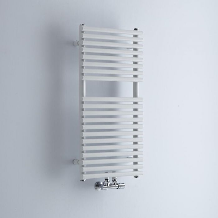 Milano Via - White Bar on Bar Central Connection Heated Towel Rail 835mm x 400mm