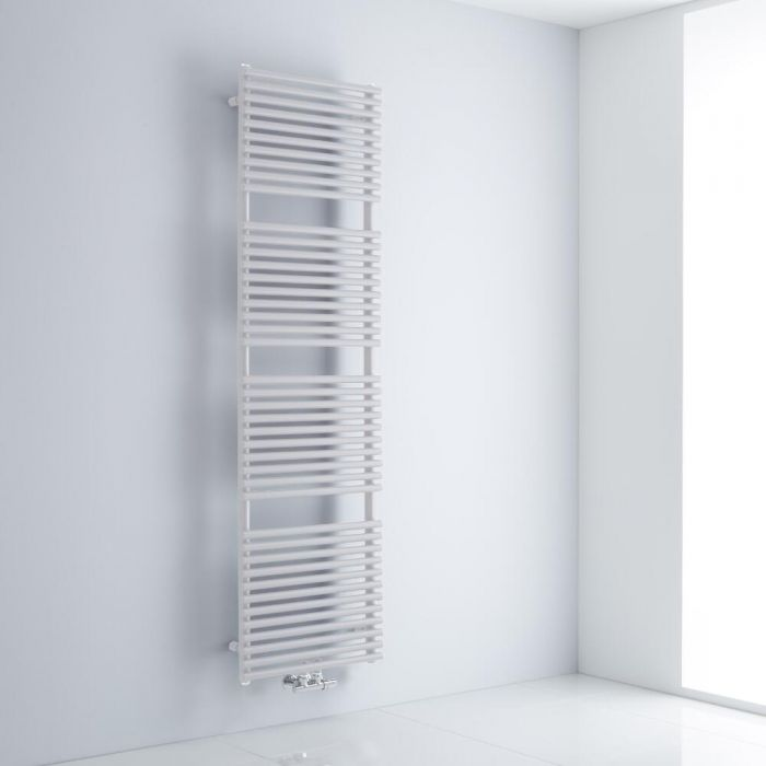 Milano Via - White Bar on Bar Central Connection Heated Towel Rail 1823mm x 500mm