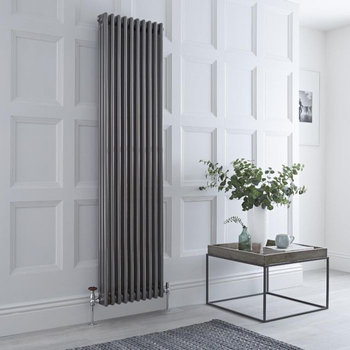 Milano Windsor - Vertical Triple Column Lacquered Raw Metal Traditional Cast Iron Style Radiator - 1800mm x 470mm