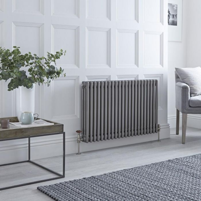 Milano Windsor - Horizontal Triple Column Lacquered Raw Metal Traditional Cast Iron Style Radiator - 600mm x 1010mm