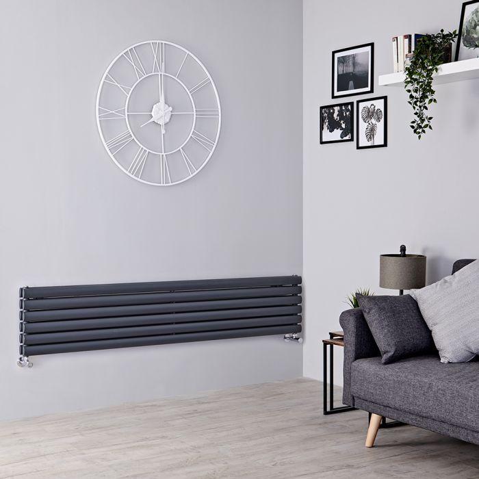 Milano Aruba -  Anthracite Horizontal Designer Radiator 354mm x 1600mm (Double Panel)