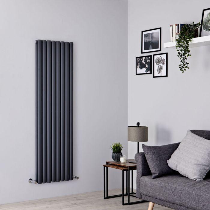 Milano Aruba - Anthracite Grey Vertical Designer Radiator 1600mm x 472mm (Double Panel)