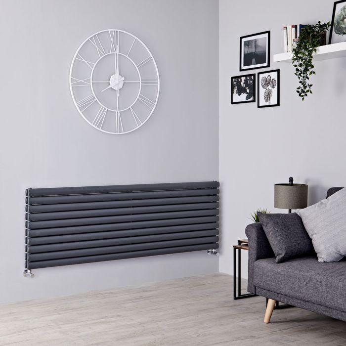 Milano Aruba - Anthracite Horizontal Designer Radiator 590mm x 1600mm (Double Panel)