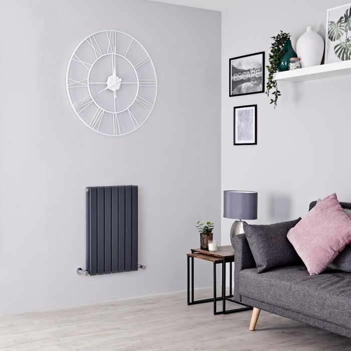 Milano Capri - Anthracite Horizontal Flat Panel Designer Radiator 635mm x 420mm (Double Panel)