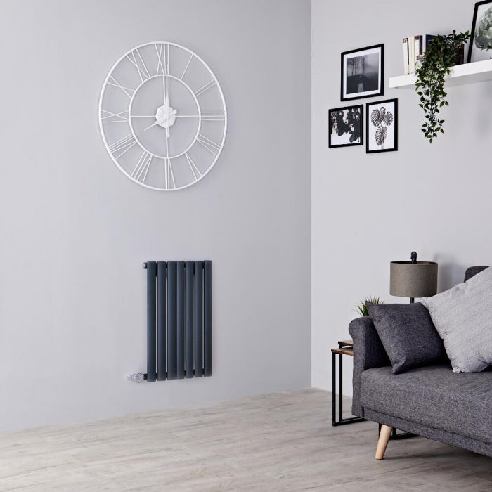Milano Aruba Electric - Anthracite Horizontal Designer Radiator 635mm x 415mm