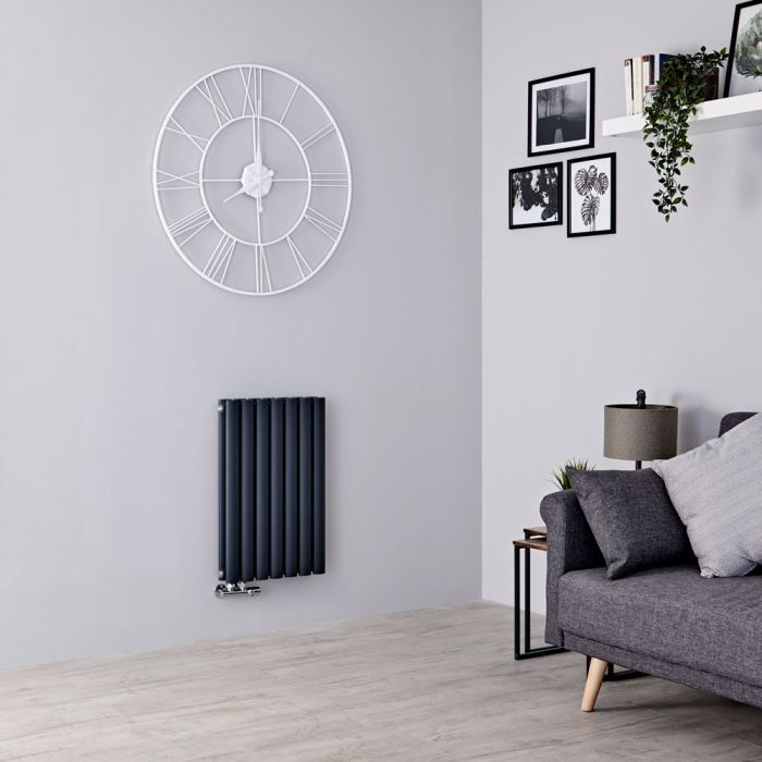 Milano Aruba Flow - Anthracite Horizontal Double Panel Middle Connection Designer Radiator 635mm x 415mm