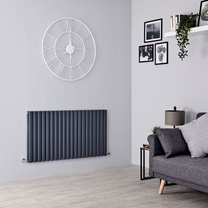 Milano Aruba - Anthracite Horizontal Designer Double Radiator 635mm x 1180mm