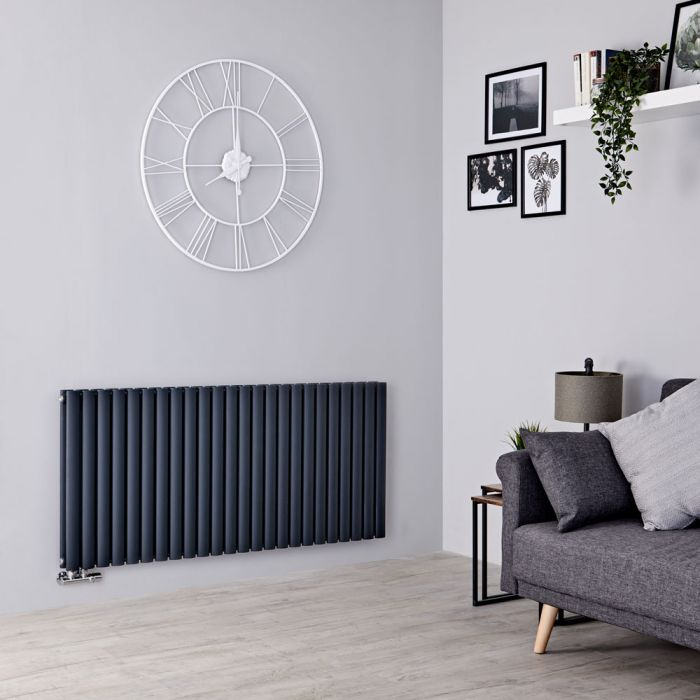 Milano Aruba Flow - Anthracite Horizontal Double Panel Middle Connection Designer Radiator 635mm x 1411mm