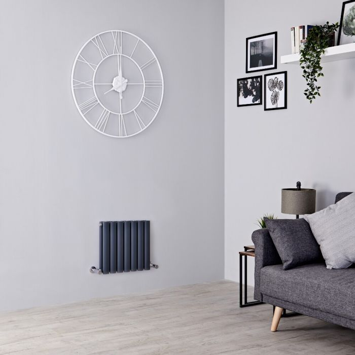 Milano Aruba - Anthracite Horizontal Designer Radiator 400mm x 415mm (Double  Panel)