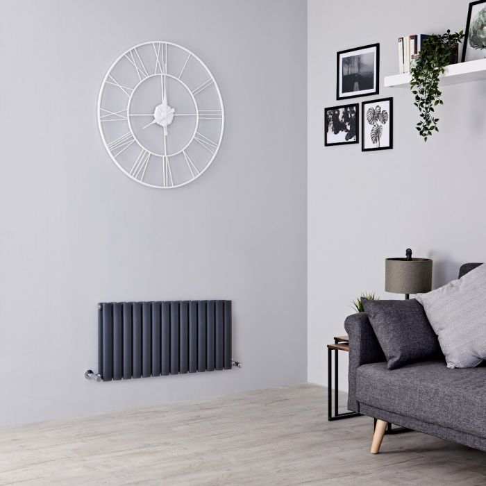 Milano Aruba - Anthracite Horizontal Designer Radiator 400mm x 834mm (Double  Panel)
