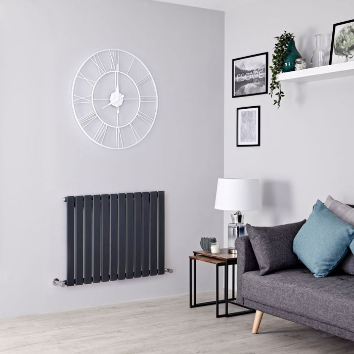 Milano Alpha - Anthracite Horizontal Single Slim Panel Designer Radiator 635mm x 840mm