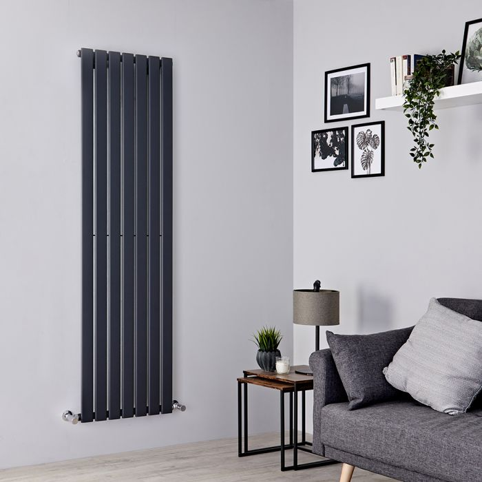 Milano Alpha - Anthracite Vertical Single Slim Panel Designer Radiator 1600mm x 490mm