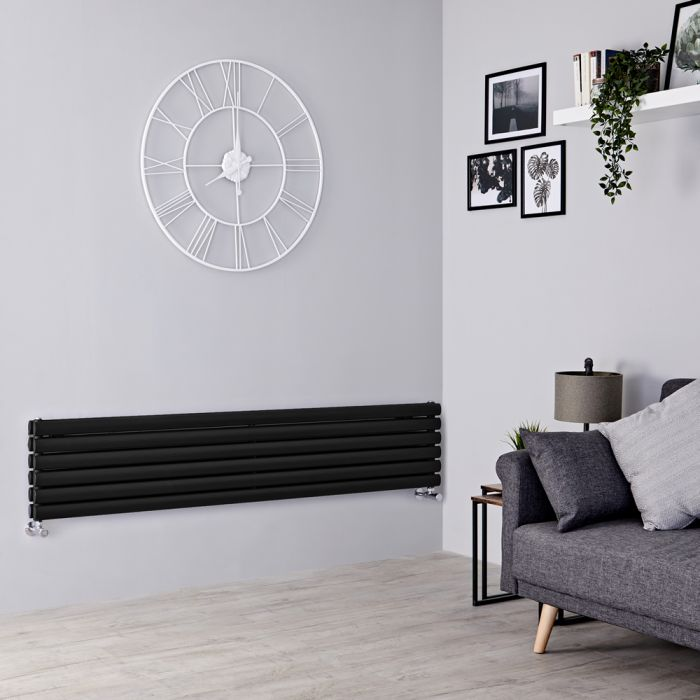 Milano Aruba - Black Horizontal Designer Radiator 354mm x 1600mm (Double Panel)