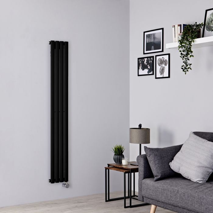 Milano Aruba Slim Electric - Black Space-Saving Vertical Designer Radiator 1600mm x 236mm