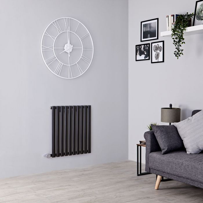 Milano Aruba Electric - Black Horizontal Designer Radiator 635mm x 595mm
