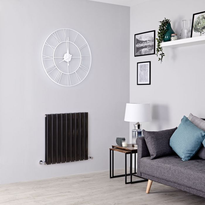 Milano Alpha - Black Horizontal Double Slim Panel Designer Radiator 635mm x 630mm