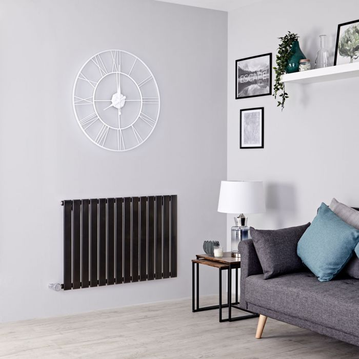 Milano Alpha Electric - Black Horizontal Single Slim Panel Designer Radiator 635mm x 980mm
