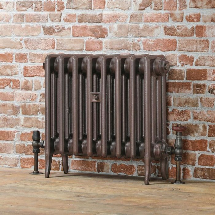 Milano Alice - Low-Level Classic Column Cast Iron Radiator - 460mm Tall - Antique Copper - Multiple Sizes Available