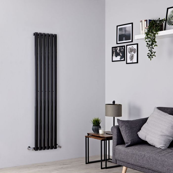 Milano Aruba - Black Vertical Designer Radiator 1600mm x 354mm