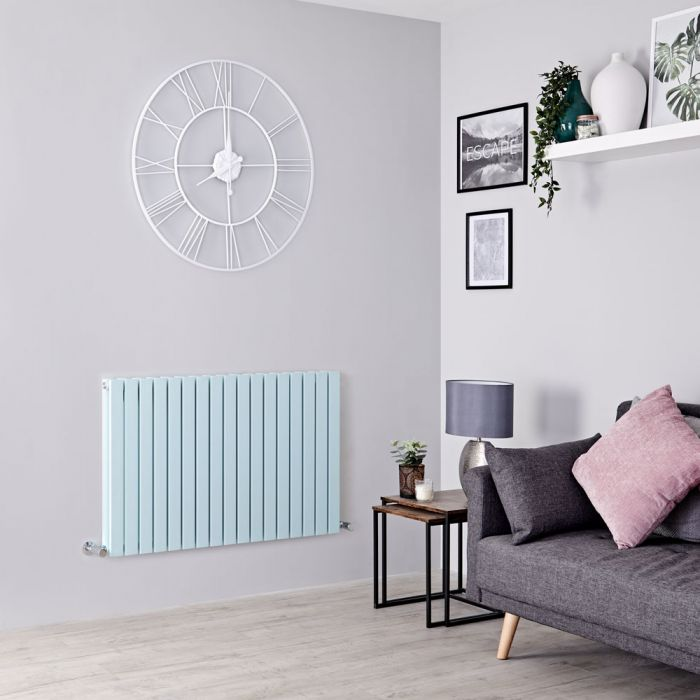 Milano Capri - Light Mint Green Flat Panel Horizontal Designer Radiator - 635mm x 1000mm (Double Panel)