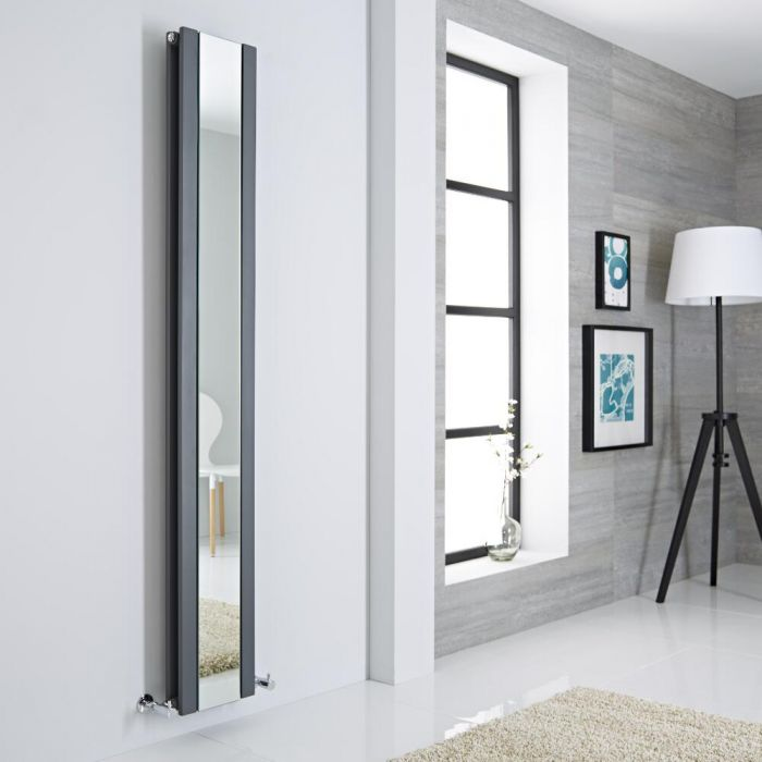 Milano Icon - Anthracite Vertical Mirrored Designer Radiator 1800mm x 265mm