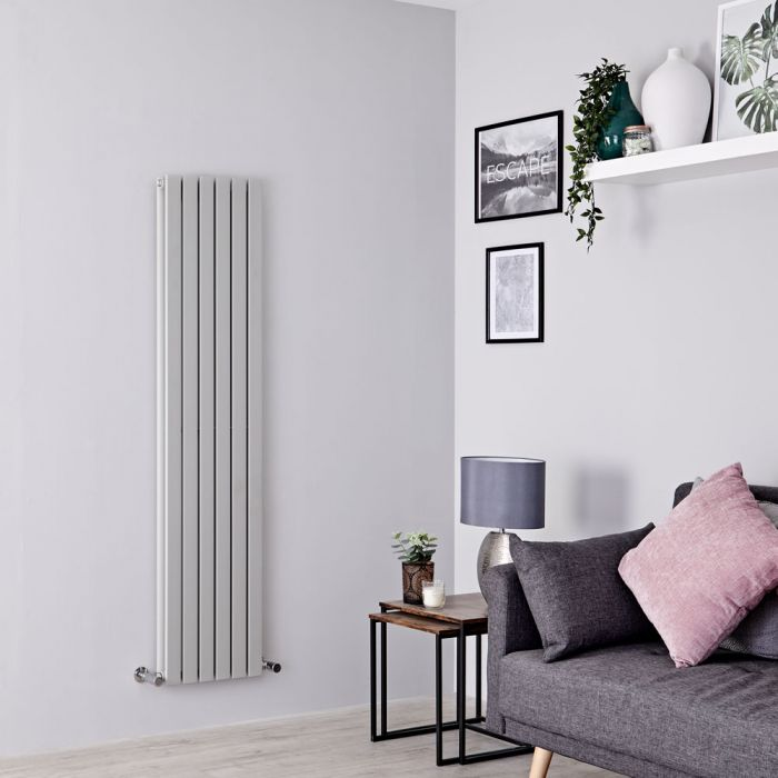 Milano Capri - Silver Flat Vertical Designer Radiator 1600mm x 354mm (Double Panel)