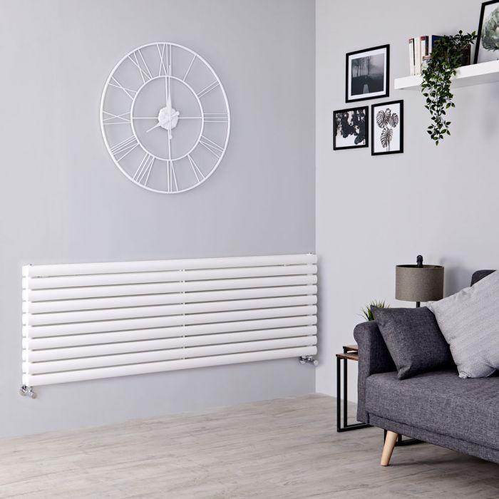 Milano Aruba - White Horizontal Designer Radiator 590mm x 1600mm (Double Panel)