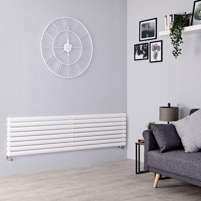 Milano Aruba - White Horizontal Designer Radiator 472mm x 1600mm (Double Panel)