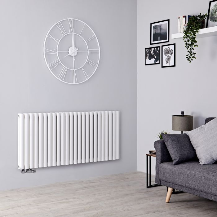 Milano Aruba Flow - White Horizontal Double Panel Middle Connection Designer Radiator 635mm x 1411mm