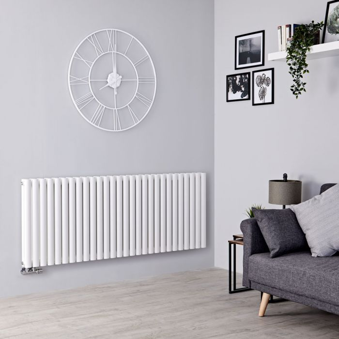 Milano Aruba Flow - White Horizontal Double Panel Middle Connection Designer Radiator 635mm x 1647mm