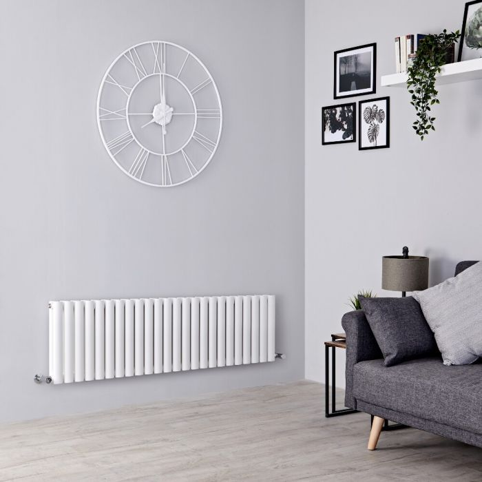 Milano Aruba - White Horizontal Designer Radiator 400mm x 1411mm (Double Panel)