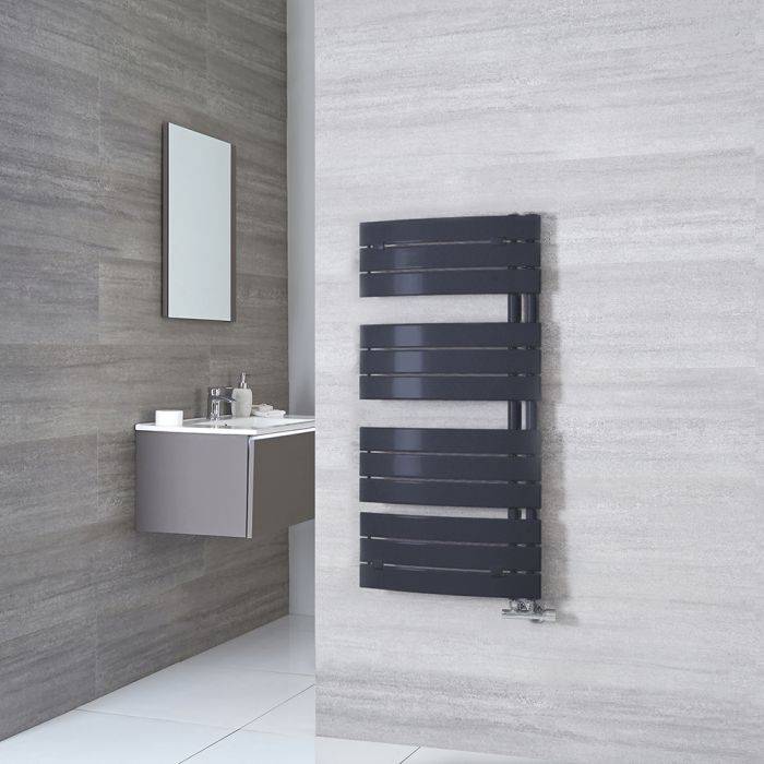 Milano Azore - Anthracite Curved Heated Towel Rail 1080mm x 550mm