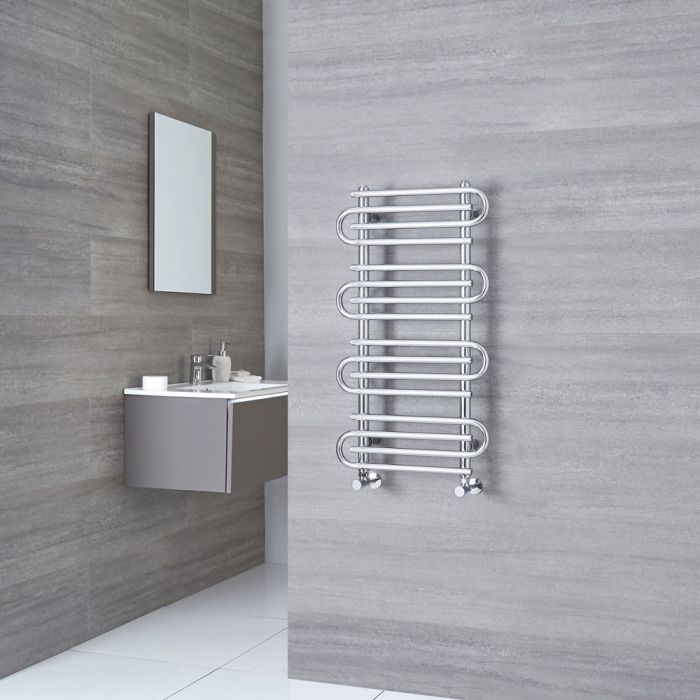 Milano Select - Chrome Designer Heated Towel Rail 900mm x 510mm