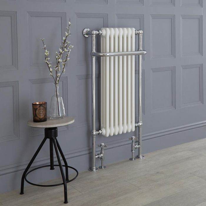 Milano Trent - White Traditional Heated Towel Rail 1130mm x 553mm