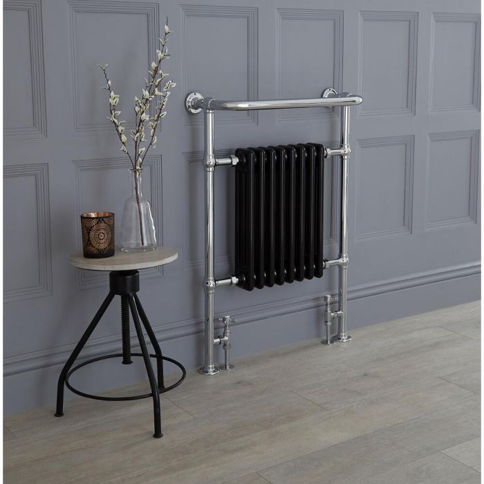 Milano Trent - Black Traditional Heated Towel Rail 960mm x 675mm (With Overhanging Rail)